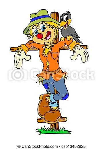 clip art of happy scarecrow & friend