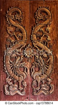 Stock Photography of Wooden door carved dragon Chinese art ...