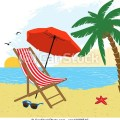 Vector chair and umbrella on the beach stock illustration royalty
