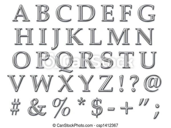 Illustrations De Chrome Alphabet Majuscule Chrome