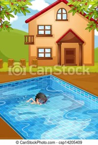 Vector Clipart of A kid swimming at the pool in the ...