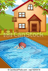 Vector Clip Art of A boy swimming at the pool in his ...