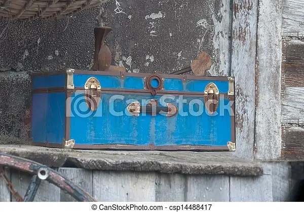 Stock Photography of Antique Blue Trunk and Peeling Paint