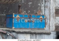 Stock Photography of Antique Blue Trunk and Peeling Paint ...
