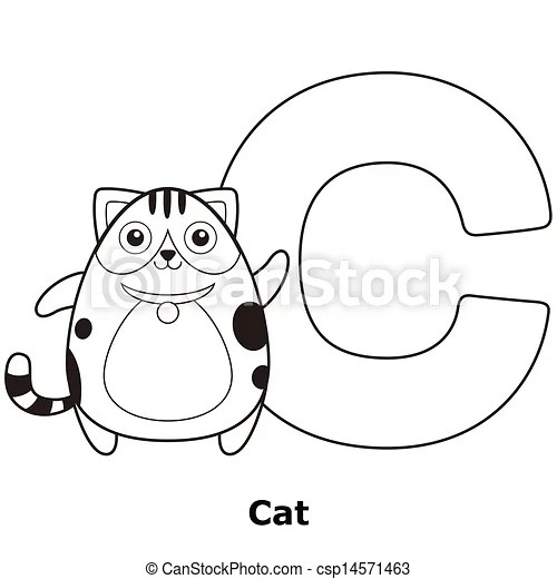 Clip Art Vector of Coloring Alphabet for Kids, C with cat
