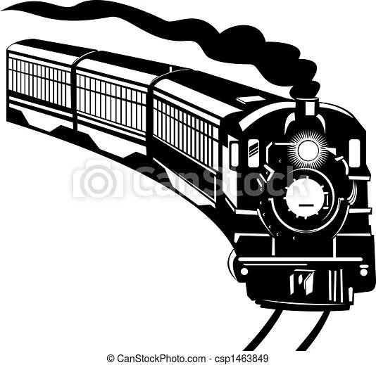 Stock Illustration of Vintage train Illustration on rail