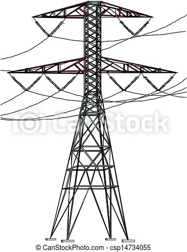 Clipart Vector of High Tension Power lines csp14734055