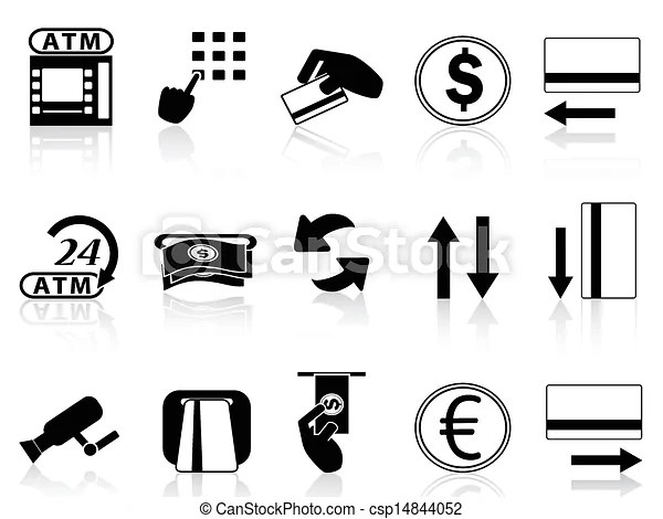 Clipart Vector of atm machine and credit card icons set