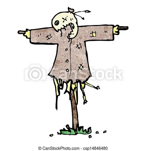 vector of cartoon scary scarecrow
