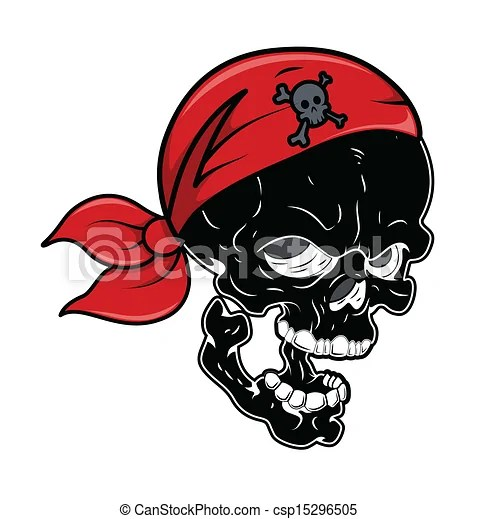 Vector Clipart of Black Pirate Skull Vector Cartoon