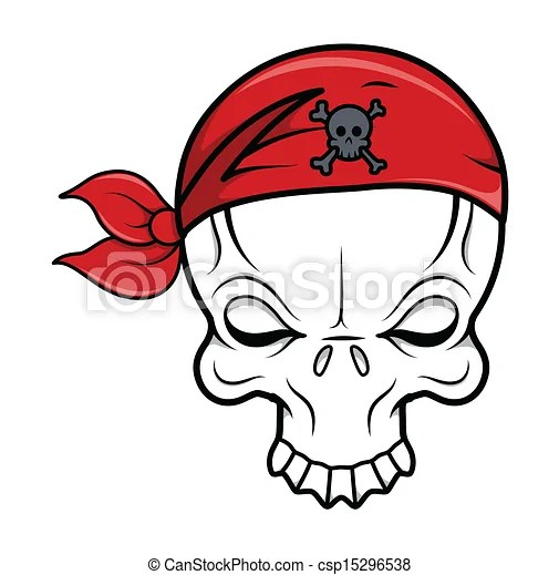 Vectors of Pirate Skull Vector Cartoon Drawing Art of