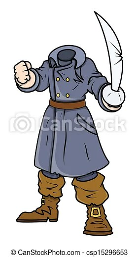 Clipart Vector of Headless Pirate Captain Vector