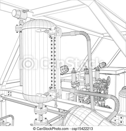 Vector Clip Art of Industrial equipment. Wire-frame vector