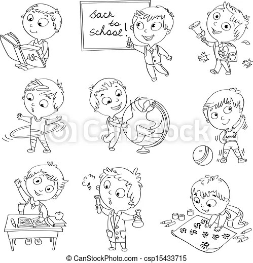 Vector Clip Art of Cute schoolchild at a lesson of