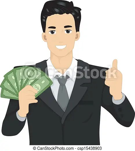 Vector Clipart of Man Holding Money Illustration of a