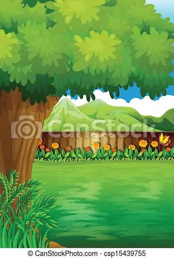 Clipart Vector of A clean fenced backyard with plants