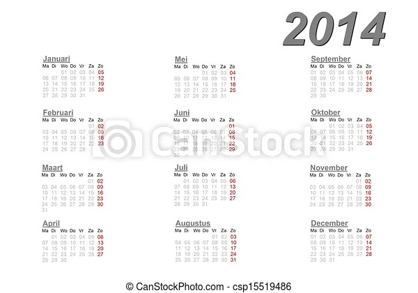 Stock Illustration of Dutch calendar for 2014 on white