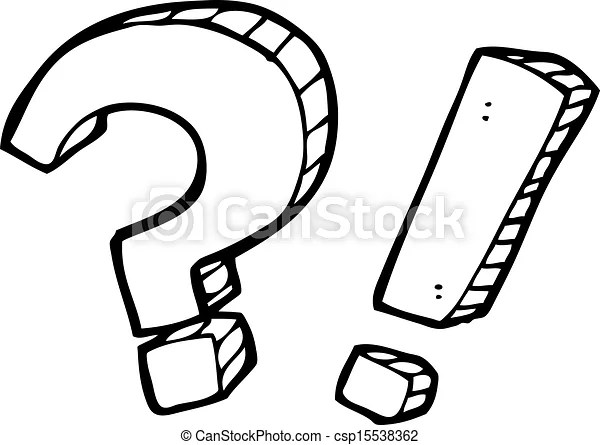 Clip Art Vector of cartoon question mark and exclamation