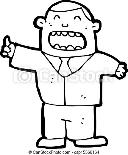 Clip Art Vector of cartoon boss shouting orders