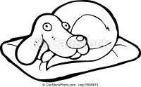 Vector Clip Art of cartoon dog on bed csp15569615 - Search ...