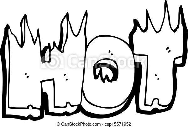 Clipart Vector of cartoon flaming hot word csp15571952