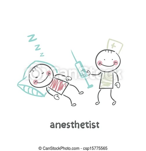 Clip Art Vector of anesthesiologist with syringe next to a