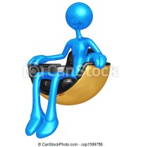 Stock Illustration of Sitting In Hovering Futuristic Chair ...