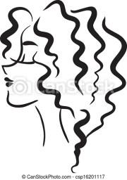 vector clip art of profile girl