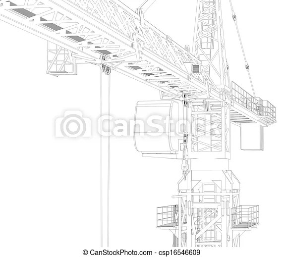 Stock Illustration of Wire frame tower crane. 3d rendering