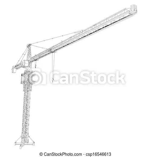 Clipart of Wire frame tower crane. 3d rendering on white
