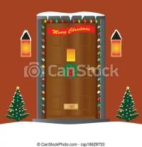 Vectors of Christmas Door - A Welcoming house door ...