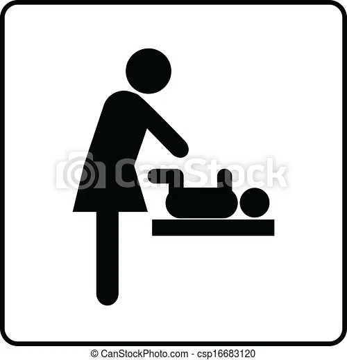 Vector Illustration of Baby Changing Room Sign Vector