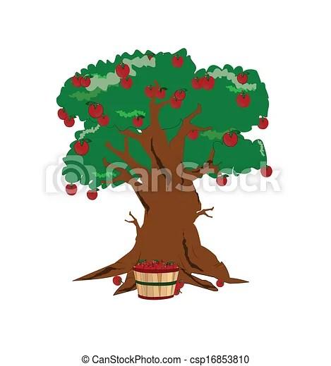 vector clip art of apple harvest