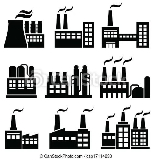 Vectors of Industrial buildings, factories, power plants