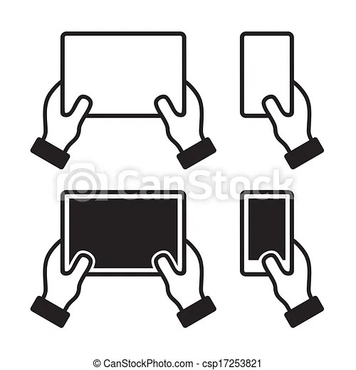 Vector Illustration of Icons set of hands holding smart