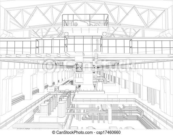 Clip Art Vector of Gantry crane in a factory environment