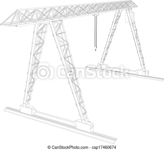 Vectors Illustration of Gantry crane. Wire-frame. Vector