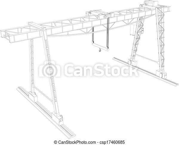 Vector of Gantry crane. Wire-frame. Vector EPS10 format