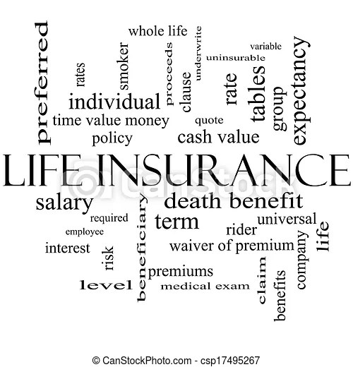 Stock Illustration of Life Insurance Word Cloud Concept in