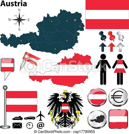 Clipart Vector of Map of Austria Vector set of Austria