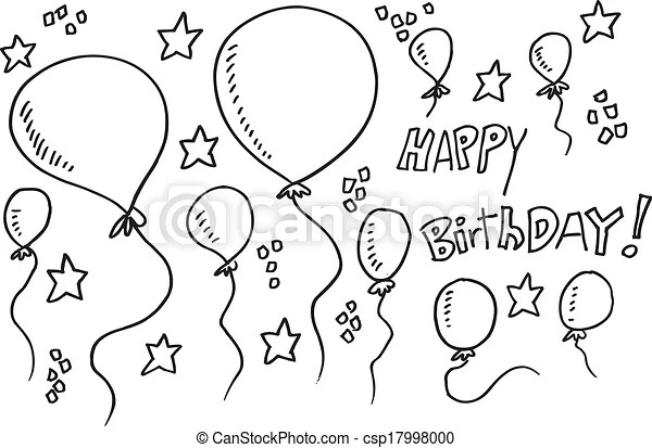 Vector Clipart of Balloon Party Doodle Illustration Vector