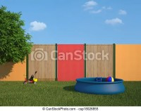 Stock Illustrations of Plastic swimming pool in the garden ...
