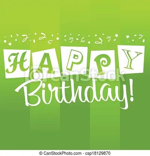 Vectors Illustration Of Green Birthday Greeting Card