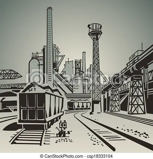 vector clipart of industrial area