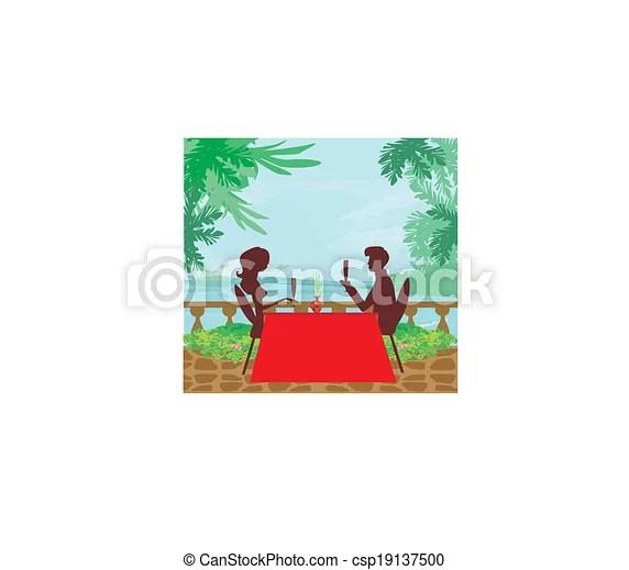 vector clipart of romantic date