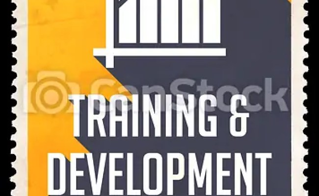 Clipart Of Training And Development On Yellow In Flat