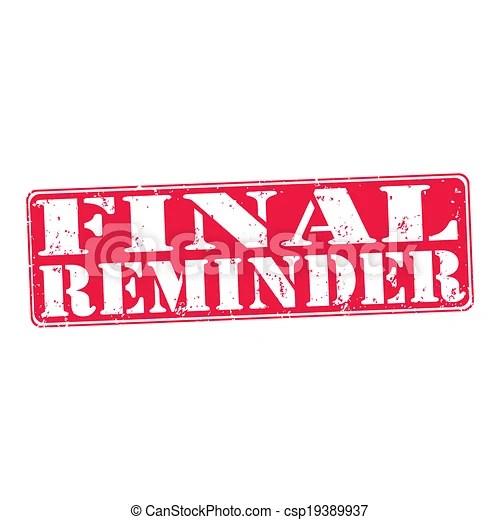 vectors of final reminder - rubber