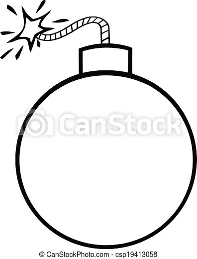 Clipart Vector of Black and White Cartoon Bomb With Lit