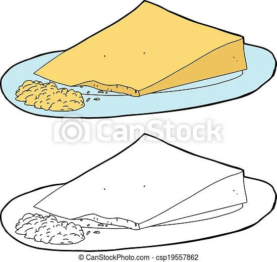 Clip Art Vector of Grated Cheese and Wedge Wedge of