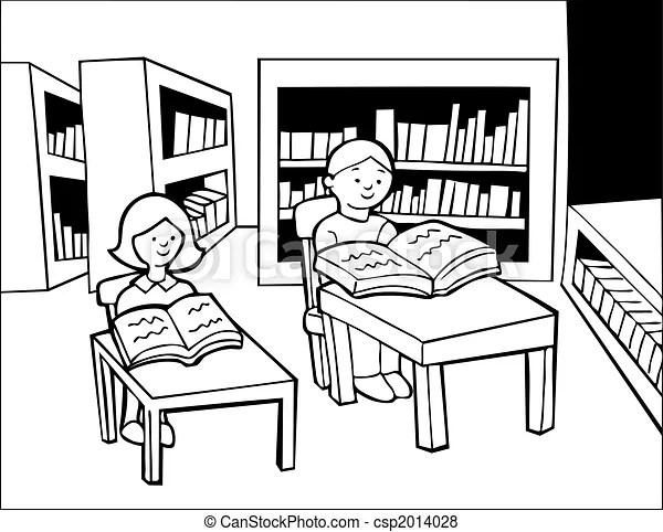 Stock Illustration of Children Library Reading Line Art